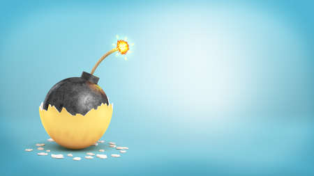 3d rendering of large iron ball with a lit fuse revealed inside a broken golden eggshell.