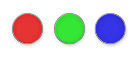 3d rendering of three colorful push buttons, a red, a blue and a green one. Accessibility. Security and control. Traffic light.