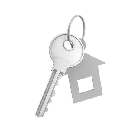 metal doors: 3d rendering of a single silver key with label isolated on white background. Lock and key. Safety and protection. Security and insurance. Stock Photo