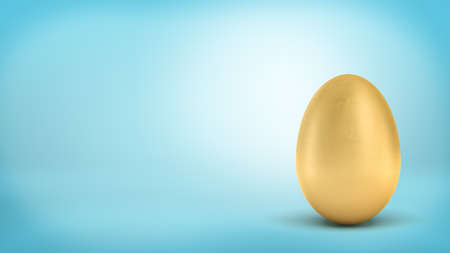 3d rendering of a whole golden egg with metallic reflection on blue background.