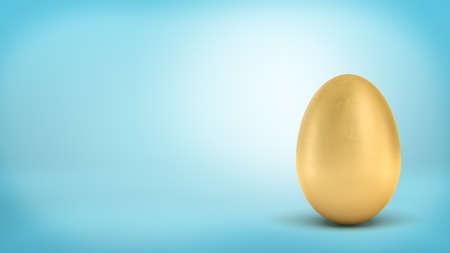 3D-Rendering eines ganzen goldenen Ei mit metallischer Reflexion auf blauem Hintergrund Standard-Bild - 84650617