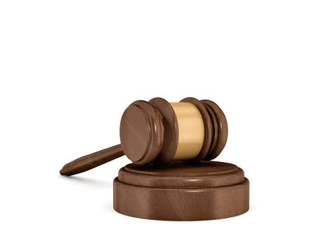 supreme court: 3d rendering of an isolated dark wood judge gavel resting on a sound block.