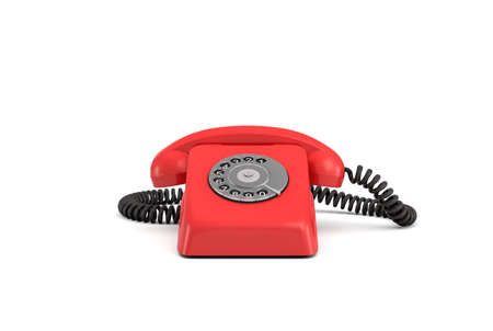 3d rendering of an old-fashioned rotary phone in front view on white background.