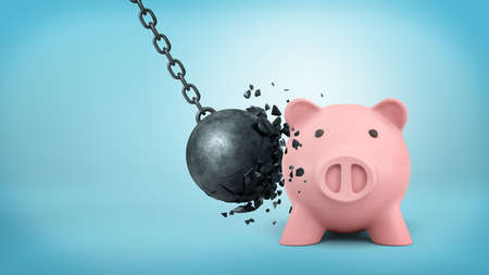3d rendering of a black swinging wrecking ball breaks itself when collides with a large piggy bank. Imagens