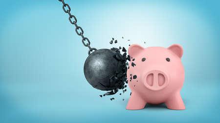 3D-weergave van een zwarte swingende sloopkogel breekt zichzelf wanneer botst met een grote spaarpot.