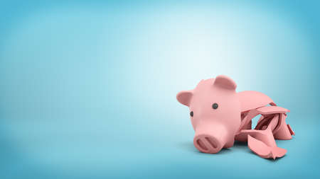 3d rendering of a pink ceramic piggy bank completely broken up into several large pieces.
