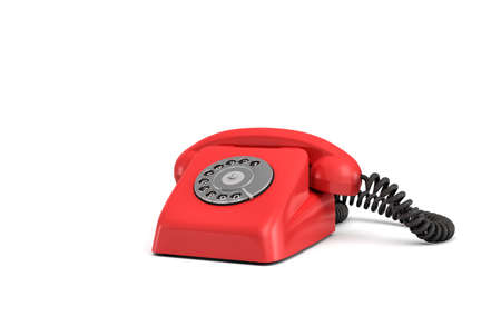 Representación 3d de un teléfono rotatorio pasado de moda aislado en el fondo blanco. Foto de archivo - 84759374