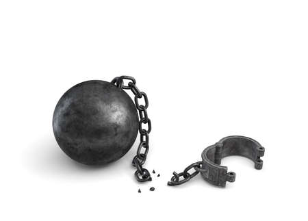 3d rendering of an isolated ball and chain lying broken near a leg shackle.