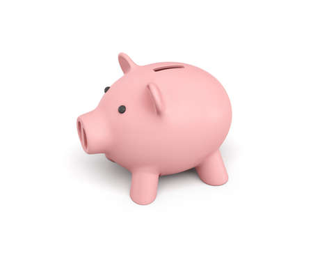 3d rendering of a pink ceramic piggy bank isolated on white background. Stock Photo