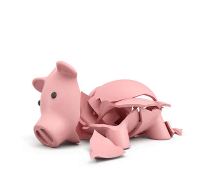 smashed: 3d rendering of a pink ceramic piggy bank completely broken up into several large pieces.