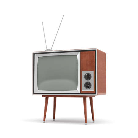 3d rendering of a blank retro TV set with an antenna stands on a low four legged table on white background.
