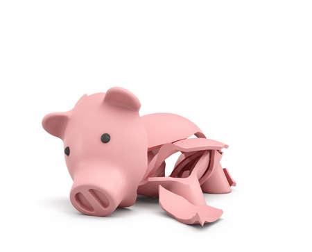 핑크 세라믹 돼지 저금통 완전히 여러 가지 큰 조각으로 깨진의 3d 렌더링.