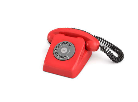 3d rendering of an old-fashioned rotary phone isolated on white background.