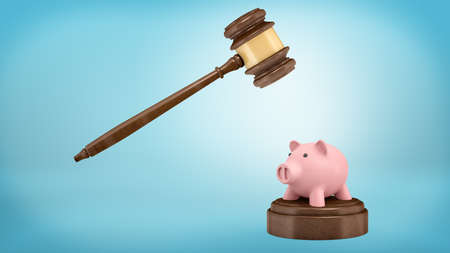 3d rendering of a large judge gavel ready to strike at a small piggy bank standing on a sound block.