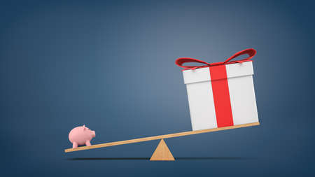 overbalance: 3d rendering of a wooden seesaw on blue background with a small piggybank heavier than a big gift box.