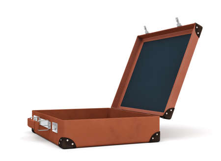 3d rendering of an open brown retro suitcase revealed to hold nothing.