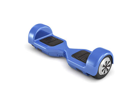 3d rendering of a single blue self-balancing gyroscooter on white background.