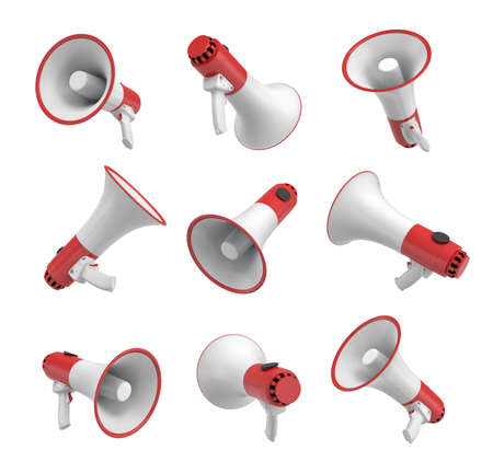 3d rendering of a set of several white and red megaphones in different angles on white background. Stockfoto