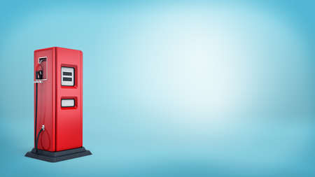 oil and gas industry: 3d rendering of a single red oil pump with a black base and an attached handle on blue background.