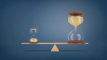 3d rendering of a small hourglass balances on a seesaw against a large hourglass in a perfect balance. Stock Photo