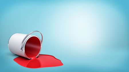 tin: 3d rendering of a overturned metal bucket with red paint leaking out in a puddle on blue background. Stock Photo