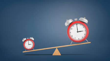 3d rendering of a seesaw with a heavier small red alarm clock and a lighter big clock on dark blue background. Stock Photo