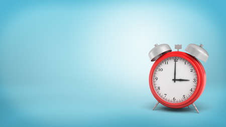 tardiness: 3d rendering of a large old style red alarm clock with double metal bells and a white face on blue background.