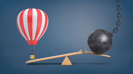 heavy risk: 3d rendering of a striped air balloon hovers at a wooden seesaw overweighing a wrecking ball that breaks the plank.