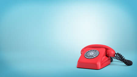 3d rendering of a red retro rotary phone with a black cord stands unused on blue background.