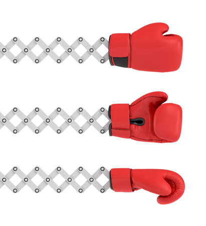 3d rendering of three similar boxing gloves in different angles each attached to a metal scissor arm. Stock Photo
