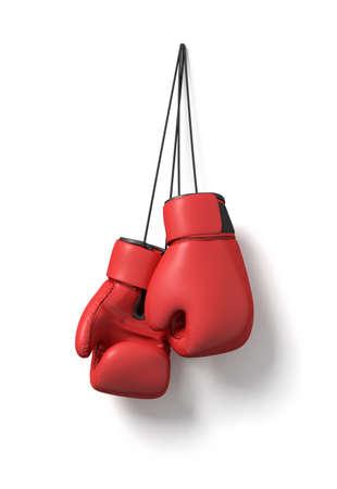 Rendu 3D de deux gants de boxe rouges suspendus sur une longue ficelle noire sur un fond blanc.