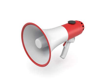 3d rendering of a single red and white megaphone in side view on white background.