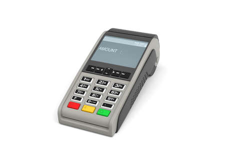 3d rendering of an empty card payment terminal in side view isolated on white background. Archivio Fotografico
