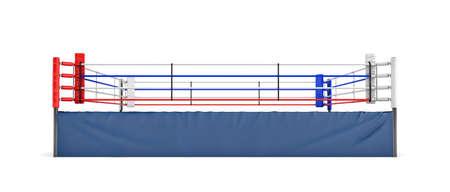 ビューは白い背景の分離前に空のボクシング リングの 3 d レンダリングします。