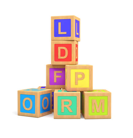 3d rendering of colorful toy blocks with different English letters isolated on a white background. Stockfoto