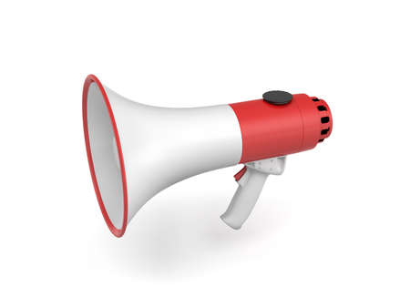3d rendering of a single red and white megaphone isolated on white background.