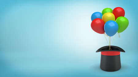 3d rendering of large black illusionists hat with a red ribbon holds many colorful balloons tied with a string.