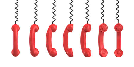 phone cord: 3d rendering of several red retro phone receivers hanging from their black cords on a white background.