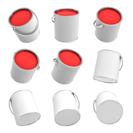 3d rendering of several paint buckets with red paint in different angles on a white background.