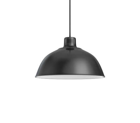 3d rendering of a single dark lamp fixture with a wide industrial metal design on a white background.
