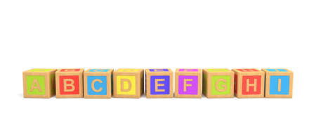 3d rendering of several wooden toy bricks with English letters in alphabetic order on a white background.