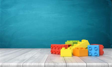 Wiedergabe 3d von Spielzeugbausteinen, die in einem bunten Stapel über einem hölzernen Schreibtisch auf einem blauen Hintergrund liegen.