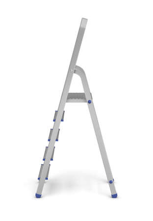 3d rendering of a metal builders step ladder with blue fittings in side view on a white background.