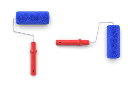 Rendu 3D de deux rouleaux de peinture vus d'en haut avec des poignées rouges et des couvertures pelucheuses bleues. Rénovation de bricolage. Ménage pour deux. Matériel de peinture. Banque d'images - 89171041