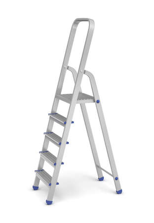 metallic stairs: 3d rendering of a metal builders step ladder with blue fittings in side view on a white background. Going upwards. Building supplies. Steps and ladders.