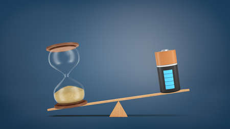 3d rendering of a wooden seesaw with a retro hourglass heavier than a fully charged battery.