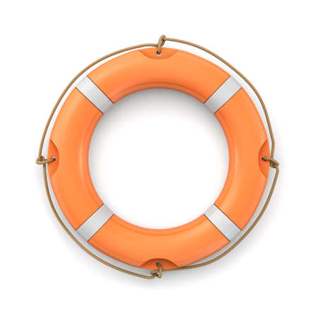 3d rendering of a single isolated orange life buoy isolated on white background. Stock Photo
