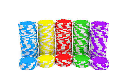 3d rendering of several stacks of gambling chips in green, yellow, red, blue and purple colors on a white background.