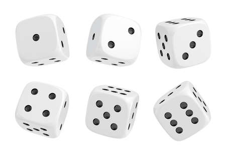 3d rendering of a set of six white dice with black dots hanging in half turn showing different numbers.