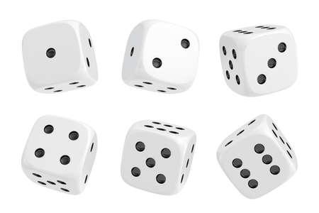 Representación 3D de un conjunto de seis dados blancos con puntos negros colgando a media vuelta mostrando diferentes números. Foto de archivo
